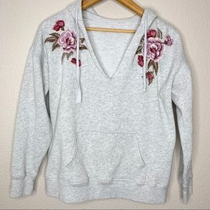 AMERICAN EAGLE Floral Embroidered Grey Hoodie